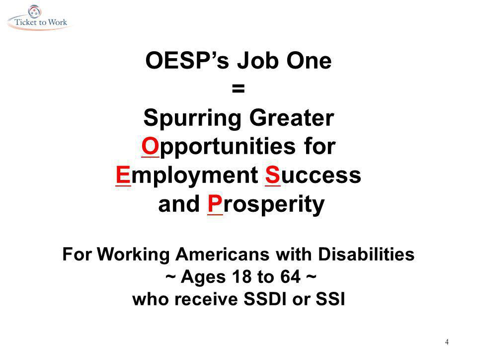 OESP's Job One = Spurring Greater Opportunities for Employment Success and Prosperity For Working Americans with Disabilities ~ Ages 18 to 64 ~ who receive SSDI or SSI 4