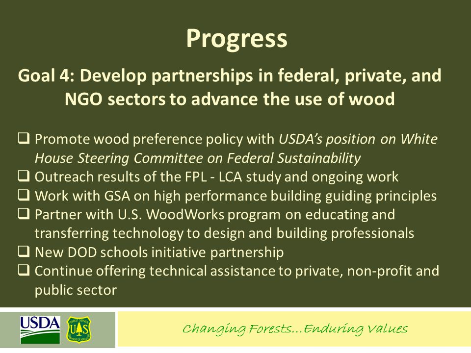 Progress Goal 4: Develop partnerships in federal, private, and NGO sectors to advance the use of wood  Promote wood preference policy with USDA's pos