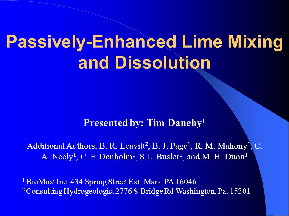 Conclusions Passive mixing technology can have a very significant improvement in lime utilization where pebble lime is the source of the alkalinity.