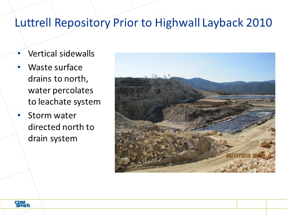 Luttrell Repository Prior to Highwall Layback 2010 Vertical sidewalls Waste surface drains to north, water percolates to leachate system Storm water directed north to drain system