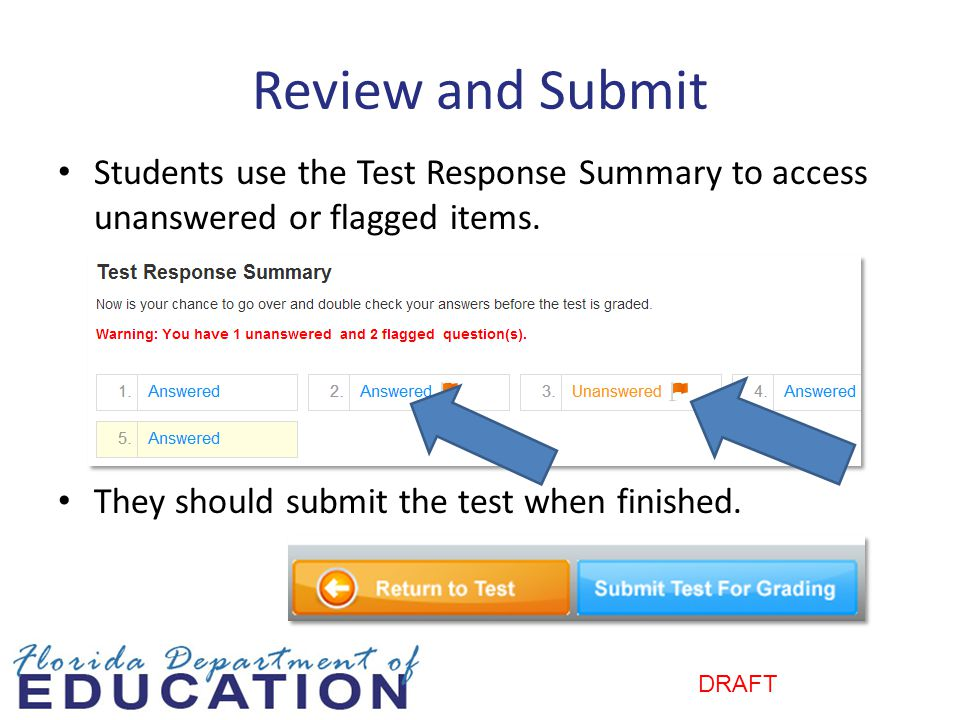 DRAFT Review and Submit Students use the Test Response Summary to access unanswered or flagged items.