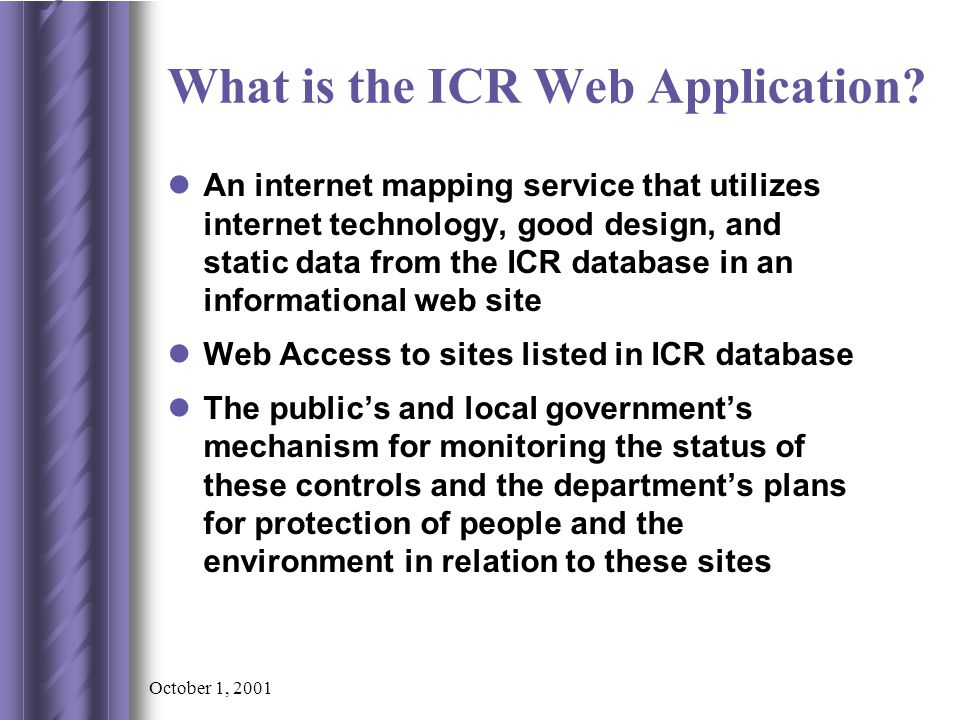 October 1, 2001 What site information is needed.