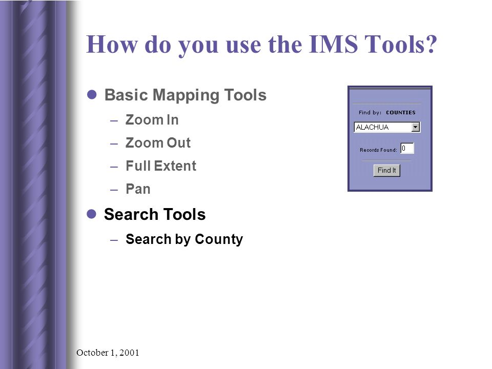 October 1, 2001 –Search by County Search Tools Basic Mapping Tools –Zoom In –Zoom Out –Full Extent –Pan How do you use the IMS Tools