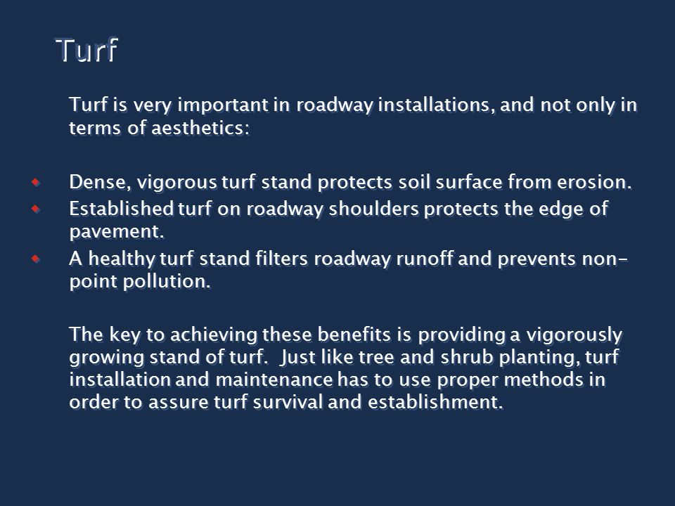 Turf Turf is very important in roadway installations, and not only in terms of aesthetics:  Dense, vigorous turf stand protects soil surface from erosion.