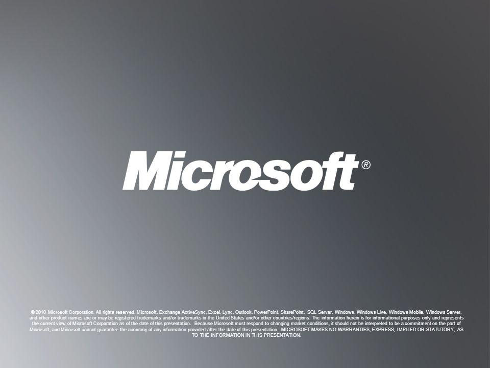 B ACK TO O BJECTIVES B ACK TO O BJECTIVES © 2010 Microsoft Corporation.