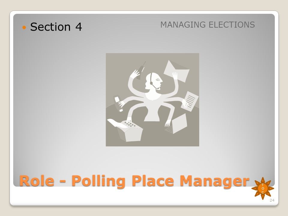 Role - Polling Place Manager Section 4 MANAGING ELECTIONS TOCTOC 24