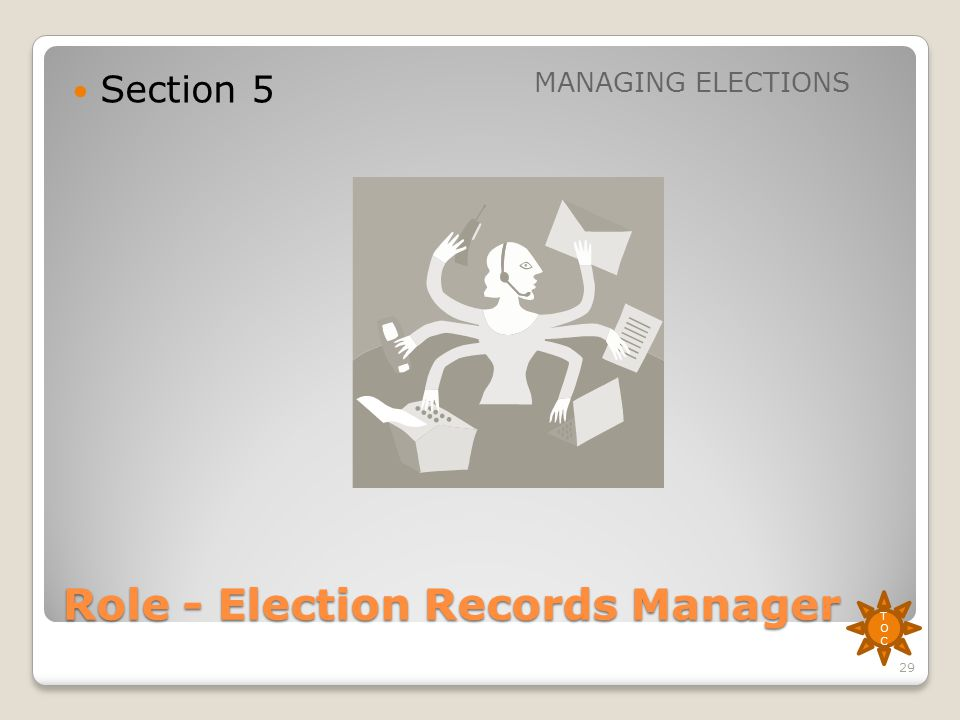 Role - Election Records Manager Section 5 MANAGING ELECTIONS TOCTOC 29