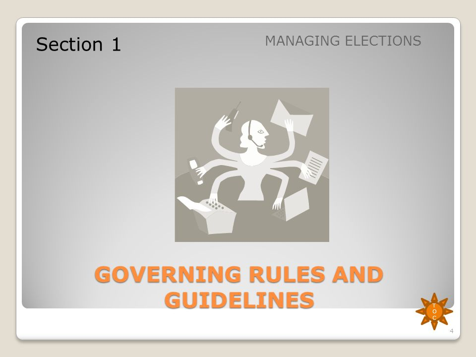 GOVERNING RULES AND GUIDELINES Section 1 MANAGING ELECTIONS TOCTOC 4