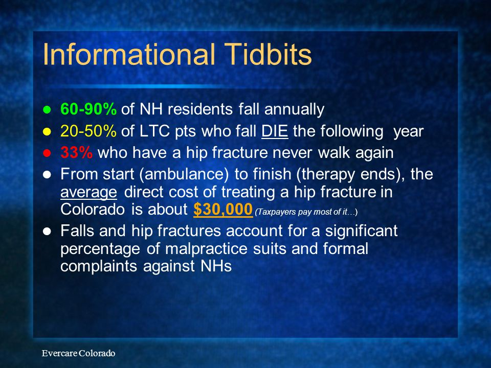 Evercare Colorado Informational Tidbits 60-90% of NH residents fall annually 20-50% of LTC pts who fall DIE the following year 33% who have a hip frac