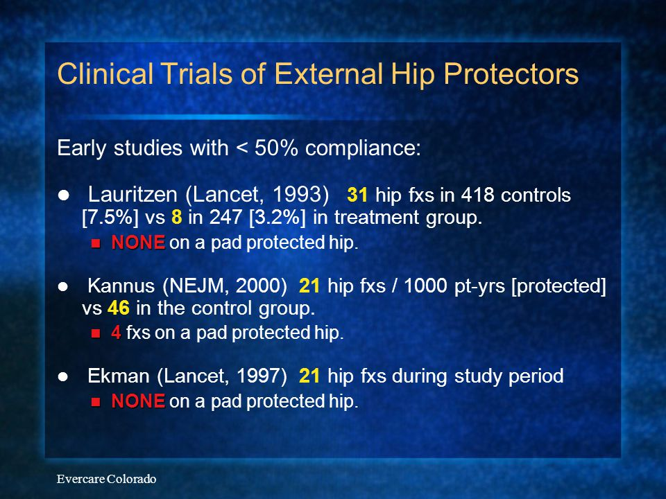 Evercare Colorado Clinical Trials of EHPs Wiener & Birge (02): 19 fractures / 310 patient-years on unprotected hips - vs - 1 fracture / 320 patient-years on protected hips Pooled data from 6 major trials: 3553 subjects Hip fxs in 2.2% of those with EHPs vs 6.2% of control group Average compliance rates estimated to be about 40% NNT to prevent 1 fracture / year is  25-40 with 40% compliance or  10-12 with 85% compliance