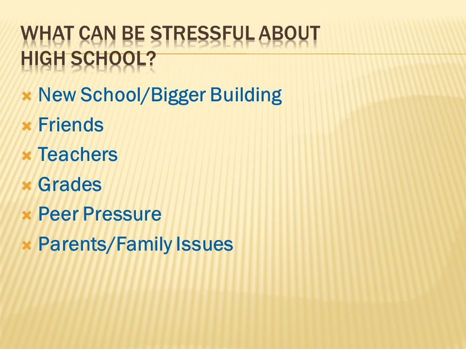  New School/Bigger Building  Friends  Teachers  Grades  Peer Pressure  Parents/Family Issues