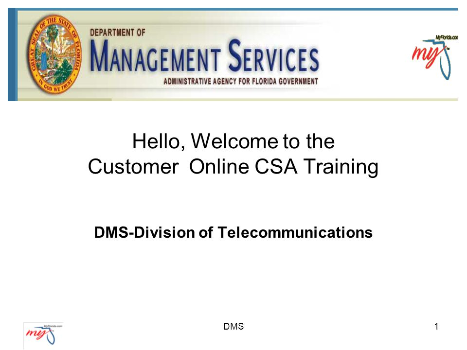 Hello, Welcome to the Customer Online CSA Training DMS-Division of Telecommunications DMS1