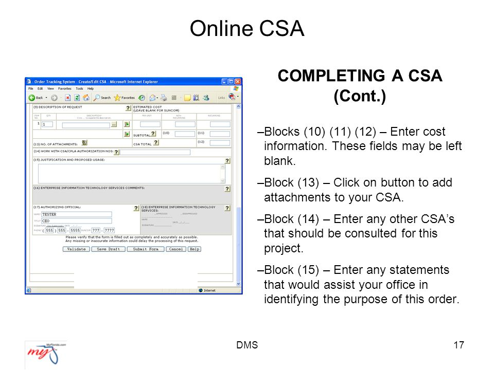 DMS17 Online CSA COMPLETING A CSA (Cont.) –Blocks (10) (11) (12) – Enter cost information.