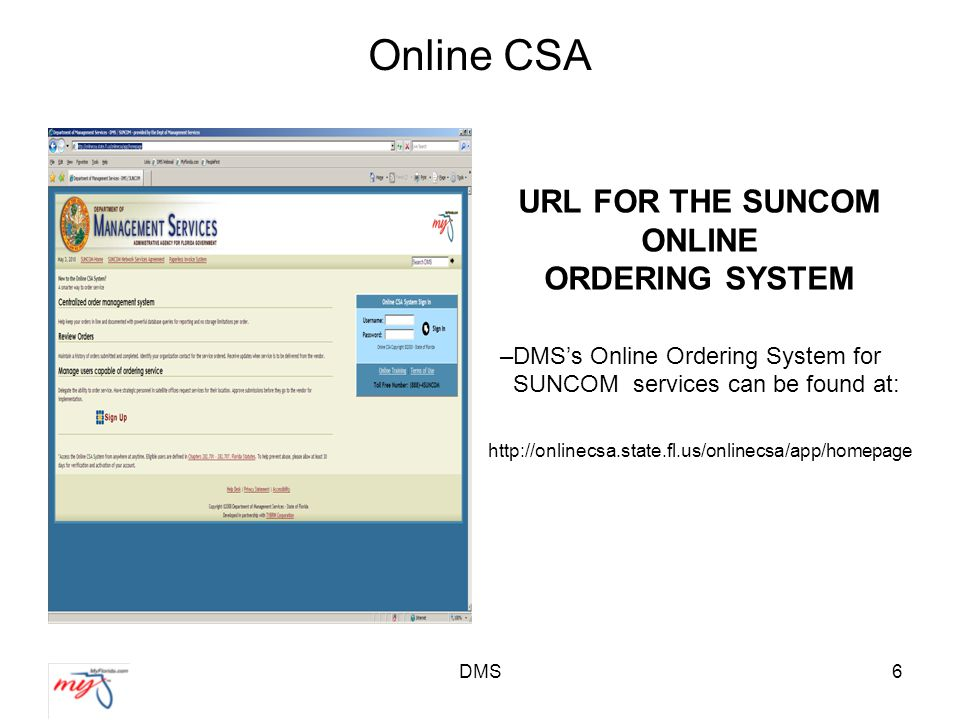 DMS6 Online CSA URL FOR THE SUNCOM ONLINE ORDERING SYSTEM –DMS's Online Ordering System for SUNCOM services can be found at: http://onlinecsa.state.fl.us/onlinecsa/app/homepage