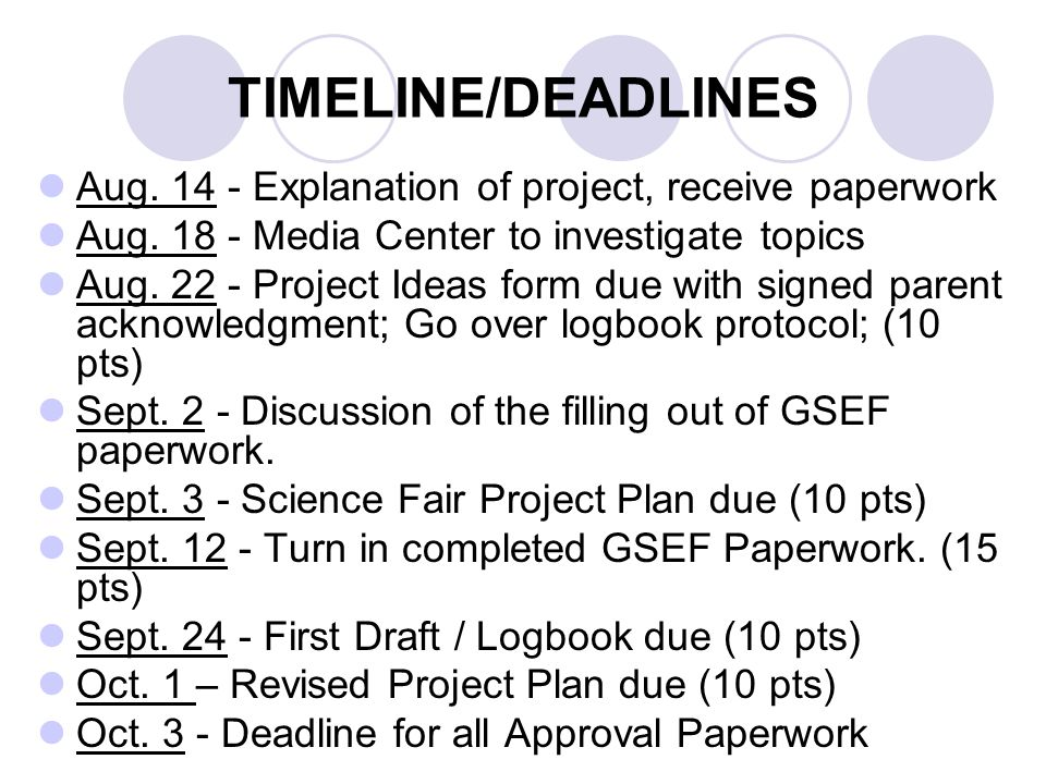 TIMELINE/DEADLINES Aug. 14 - Explanation of project, receive paperwork Aug.