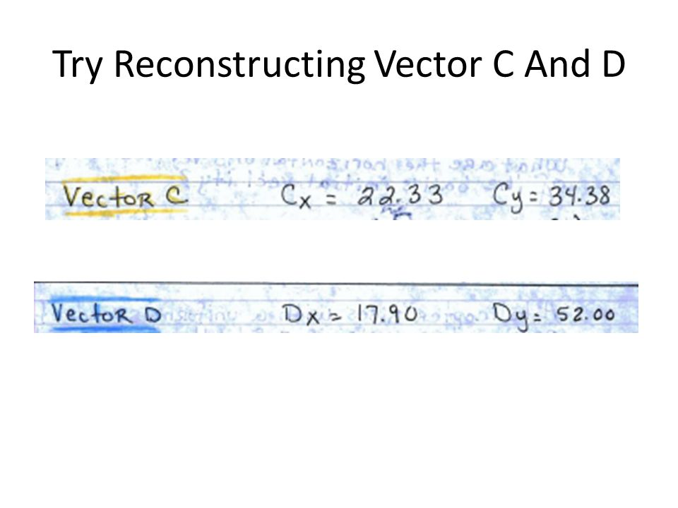 Try Reconstructing Vector C And D