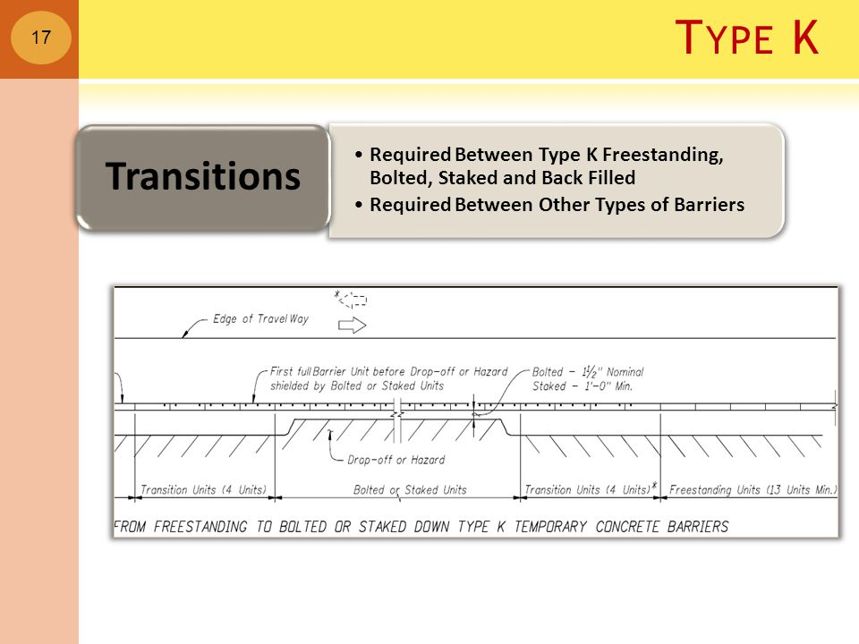 T YPE K Required Between Type K Freestanding, Bolted, Staked and Back Filled Required Between Other Types of Barriers Transitions 17