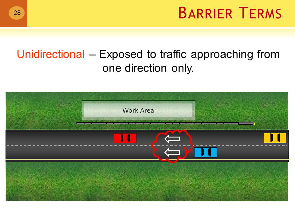 B ARRIER T ERMS Work Area Unidirectional – Exposed to traffic approaching from one direction only.