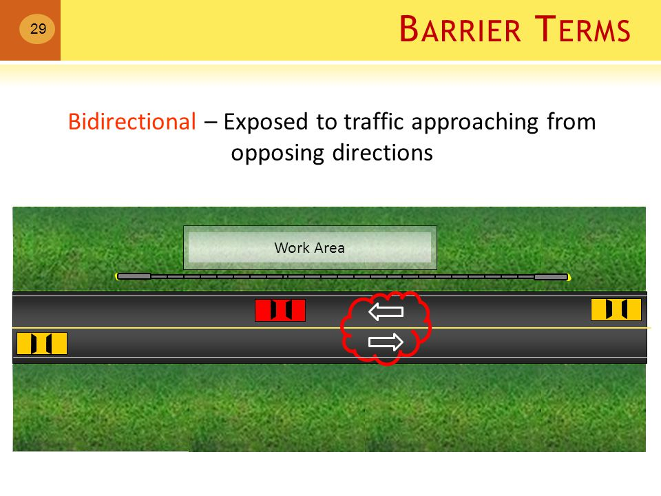 B ARRIER T ERMS Work Area Bidirectional – Exposed to traffic approaching from opposing directions 29