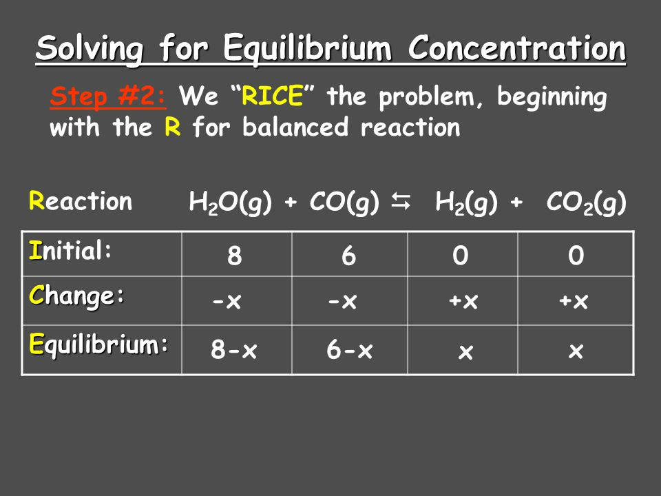"Solving for Equilibrium Concentration H 2 O(g) + CO(g)  H 2 (g) + CO 2 (g) I Initial: Change: Equilibrium: Step #2: We ""RICE"" the problem, beginning"