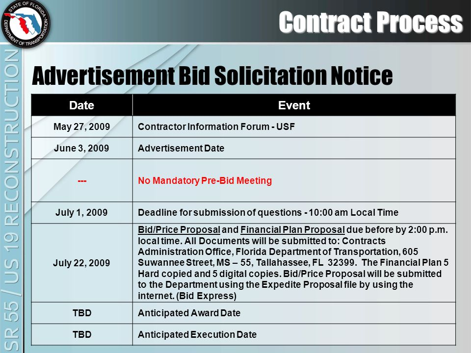 Contract Process Advertisement Bid Solicitation Notice DateEvent May 27, 2009Contractor Information Forum - USF June 3, 2009Advertisement Date ---No Mandatory Pre-Bid Meeting July 1, 2009Deadline for submission of questions - 10:00 am Local Time July 22, 2009 Bid/Price Proposal and Financial Plan Proposal due before by 2:00 p.m.