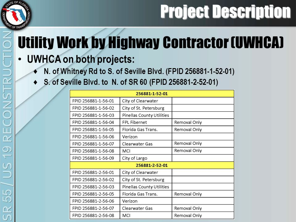 UWHCA on both projects: ♦ N. of Whitney Rd to S. of Seville Blvd.