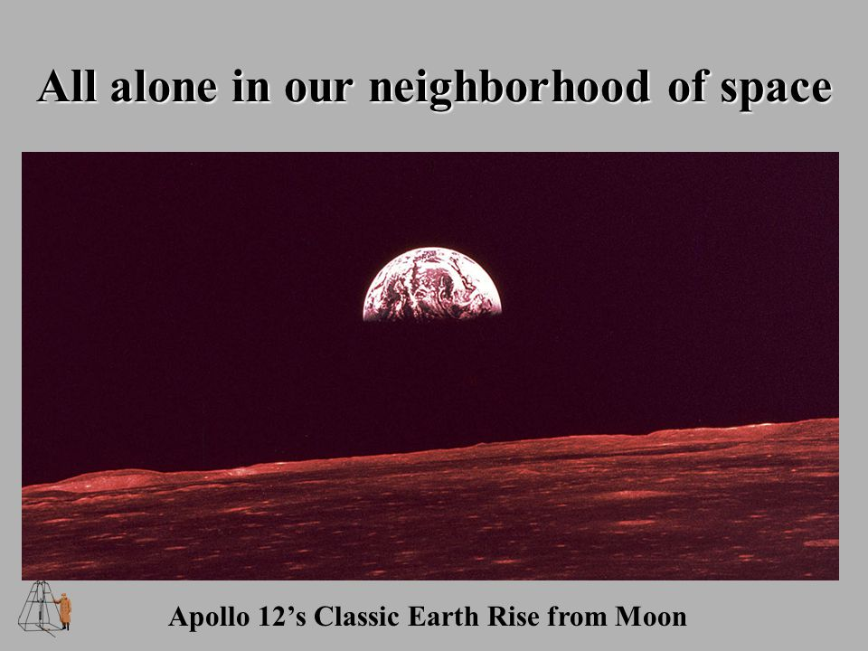 All alone in our neighborhood of space Apollo 12's Classic Earth Rise from Moon
