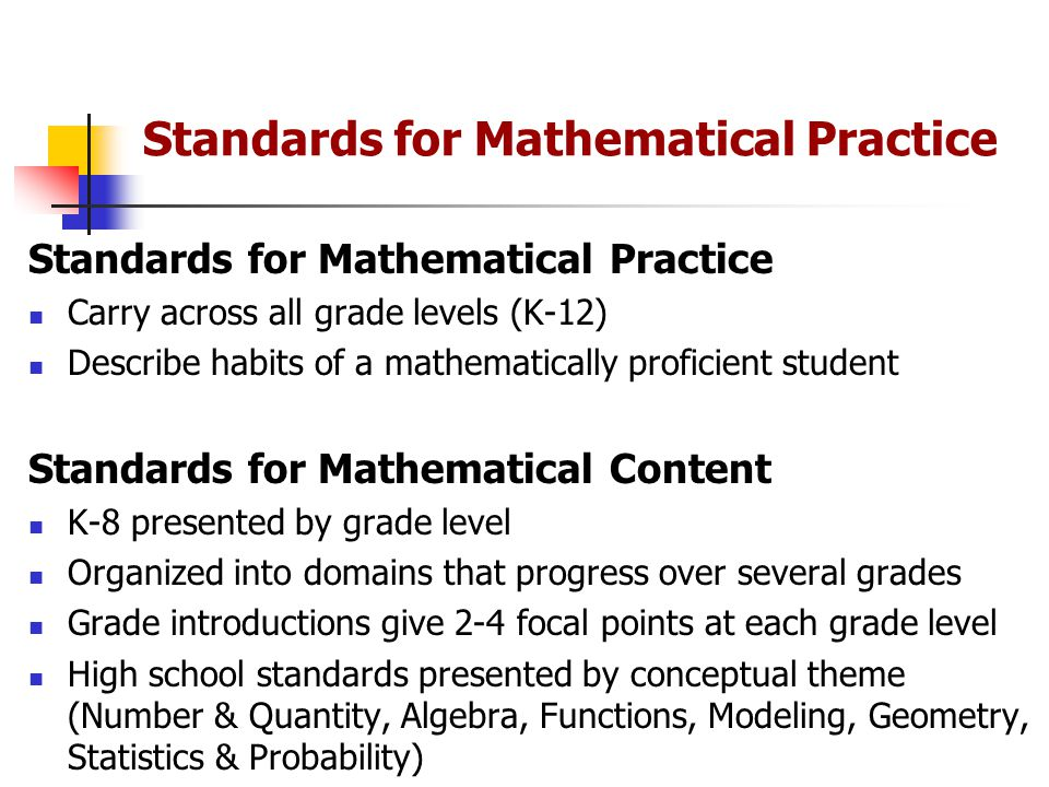 Standards for Mathematical Practice Carry across all grade levels (K-12) Describe habits of a mathematically proficient student Standards for Mathematical Content K-8 presented by grade level Organized into domains that progress over several grades Grade introductions give 2-4 focal points at each grade level High school standards presented by conceptual theme (Number & Quantity, Algebra, Functions, Modeling, Geometry, Statistics & Probability)