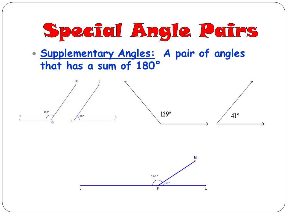 Supplementary Angles: A pair of angles that has a sum of 180°