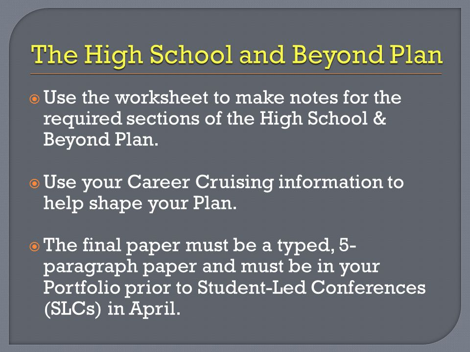  Use the worksheet to make notes for the required sections of the High School & Beyond Plan.