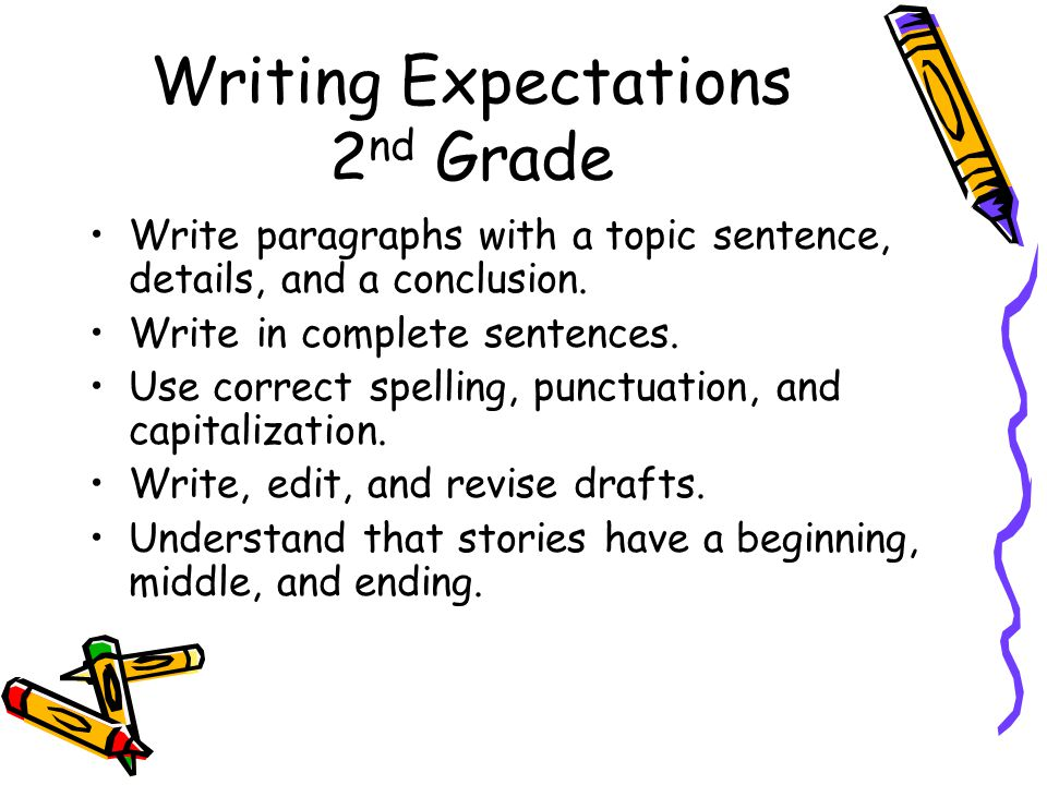 Writing Expectations 2 nd Grade Write paragraphs with a topic sentence, details, and a conclusion.