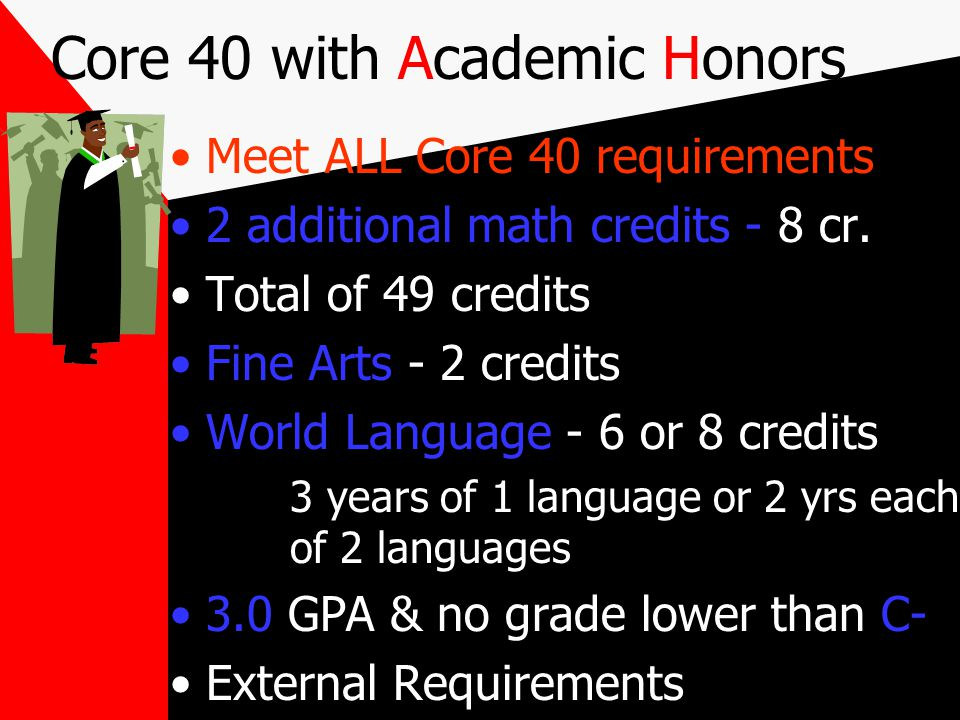 Core 40 Diploma New legislation Quantitative Reasoning (QR) Courses students must take a Math or QR Course each year in High School