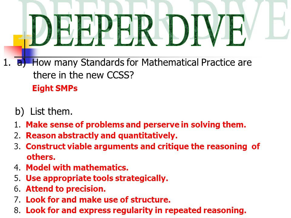 1. a) How many Standards for Mathematical Practice are there in the new CCSS.