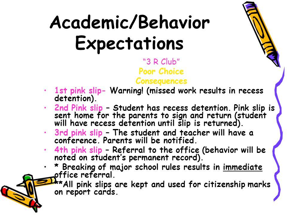 Academic/Behavior Expectations 3 R Club Poor Choice Consequences 1st pink slip- Warning.