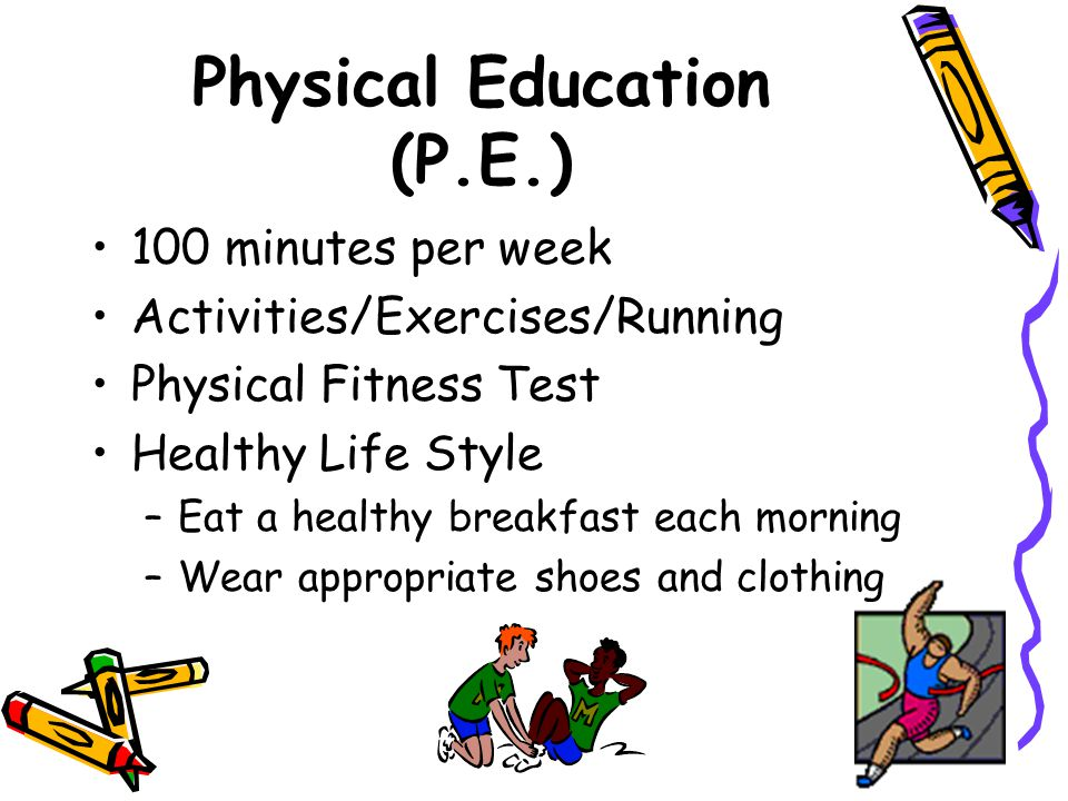 Physical Education (P.E.) 100 minutes per week Activities/Exercises/Running Physical Fitness Test Healthy Life Style –Eat a healthy breakfast each morning –Wear appropriate shoes and clothing
