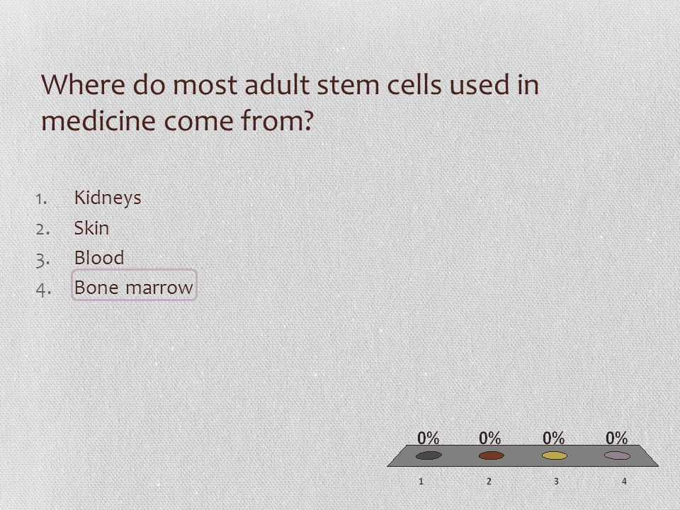 Where do most adult stem cells used in medicine come from 1.Kidneys 2.Skin 3.Blood 4.Bone marrow