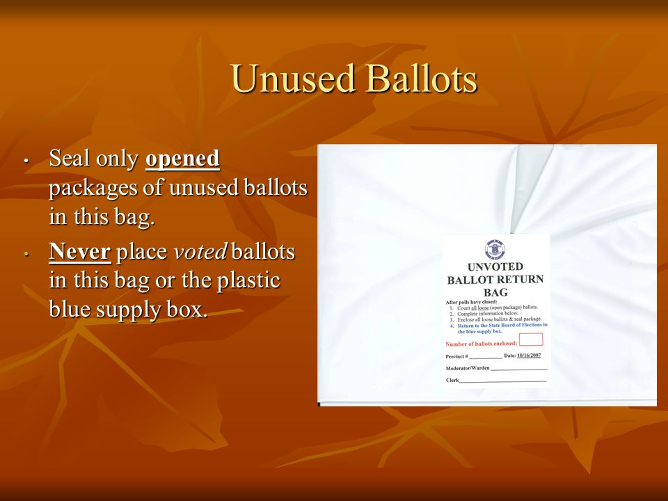 Unused Ballots Seal only opened packages of unused ballots in this bag.