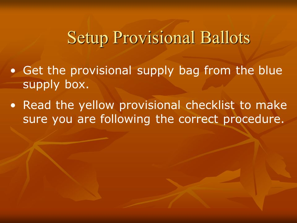 Setup Provisional Ballots Get the provisional supply bag from the blue supply box.