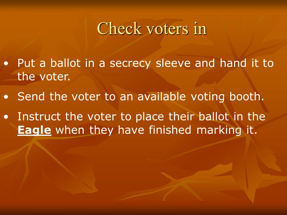 Check voters in Put a ballot in a secrecy sleeve and hand it to the voter.
