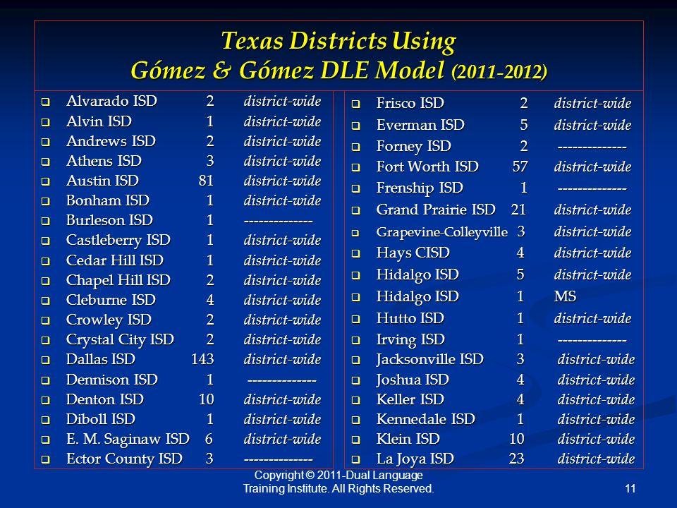 11 Texas Districts Using Gómez & Gómez DLE Model (2011-2012)  Alvarado ISD 2district-wide  Alvin ISD 1district-wide  Andrews ISD 2district-wide  Athens ISD 3district-wide  Austin ISD 81district-wide  Bonham ISD 1district-wide  Burleson ISD 1--------------  Castleberry ISD 1district-wide  Cedar Hill ISD 1district-wide  Chapel Hill ISD 2district-wide  Cleburne ISD 4district-wide  Crowley ISD 2district-wide  Crystal City ISD 2district-wide  Dallas ISD 143district-wide  Dennison ISD 1 --------------  Denton ISD 10district-wide  Diboll ISD 1 district-wide  E.
