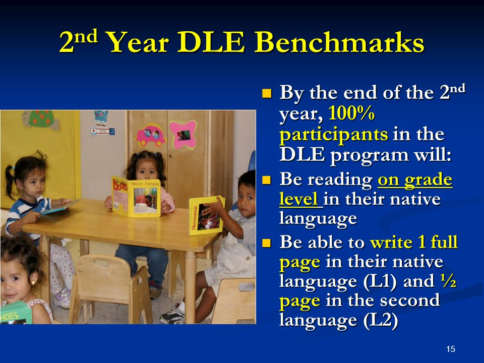 2 nd Year DLE Benchmarks By the end of the 2 nd year, 100% participants in the DLE program will: By the end of the 2 nd year, 100% participants in the DLE program will: Be reading on grade level in their native language Be reading on grade level in their native language Be able to write 1 full page in their native language (L1) and ½ page in the second language (L2) Be able to write 1 full page in their native language (L1) and ½ page in the second language (L2) 15