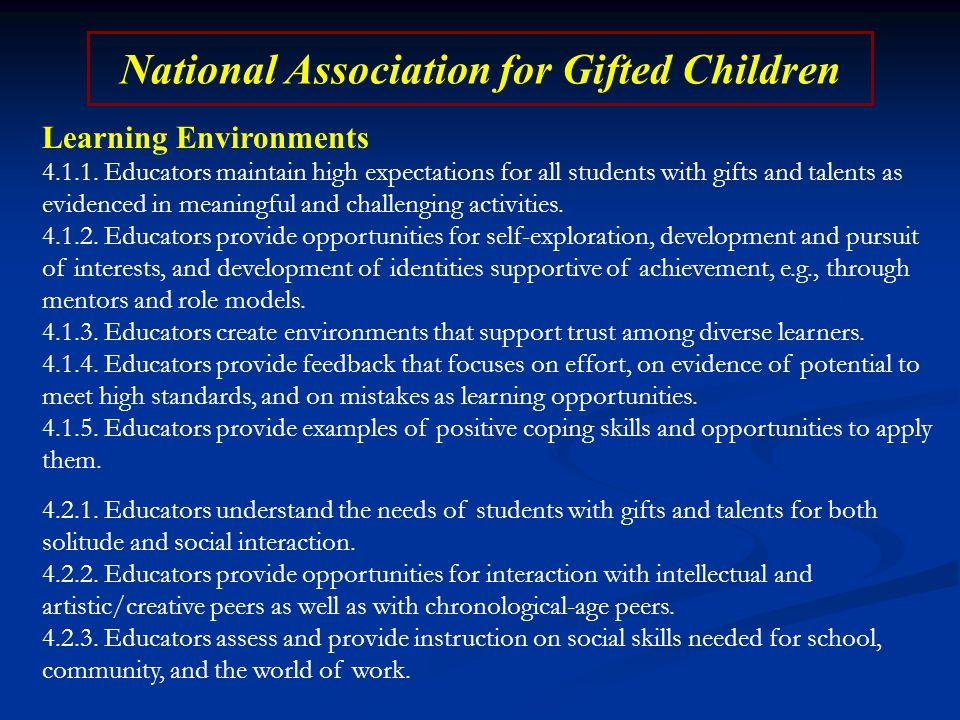 National Association for Gifted Children Learning Environments