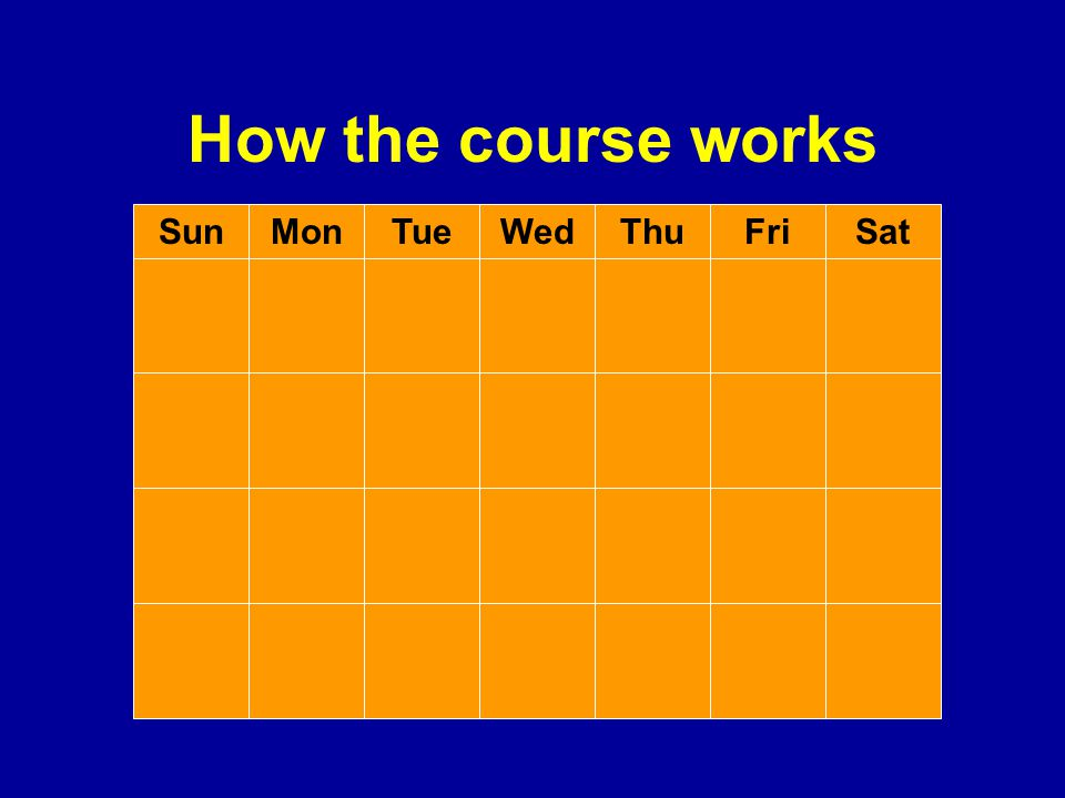 How the course works SunMonThuWedTueSatFri