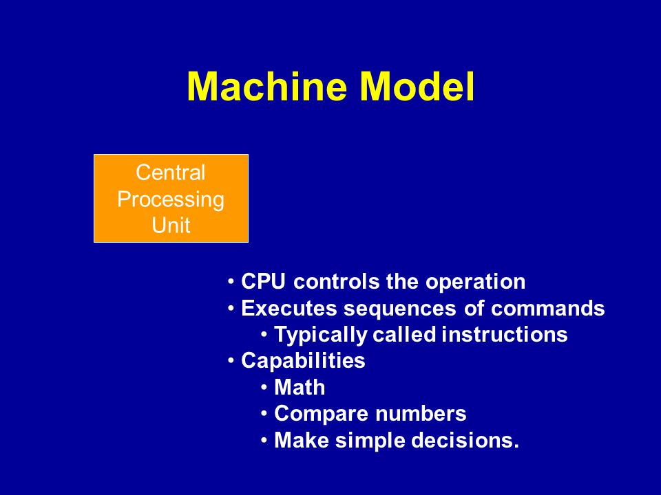 Machine Model Central Processing Unit CPU controls the operation Executes sequences of commands Typically called instructions Capabilities Math Compar