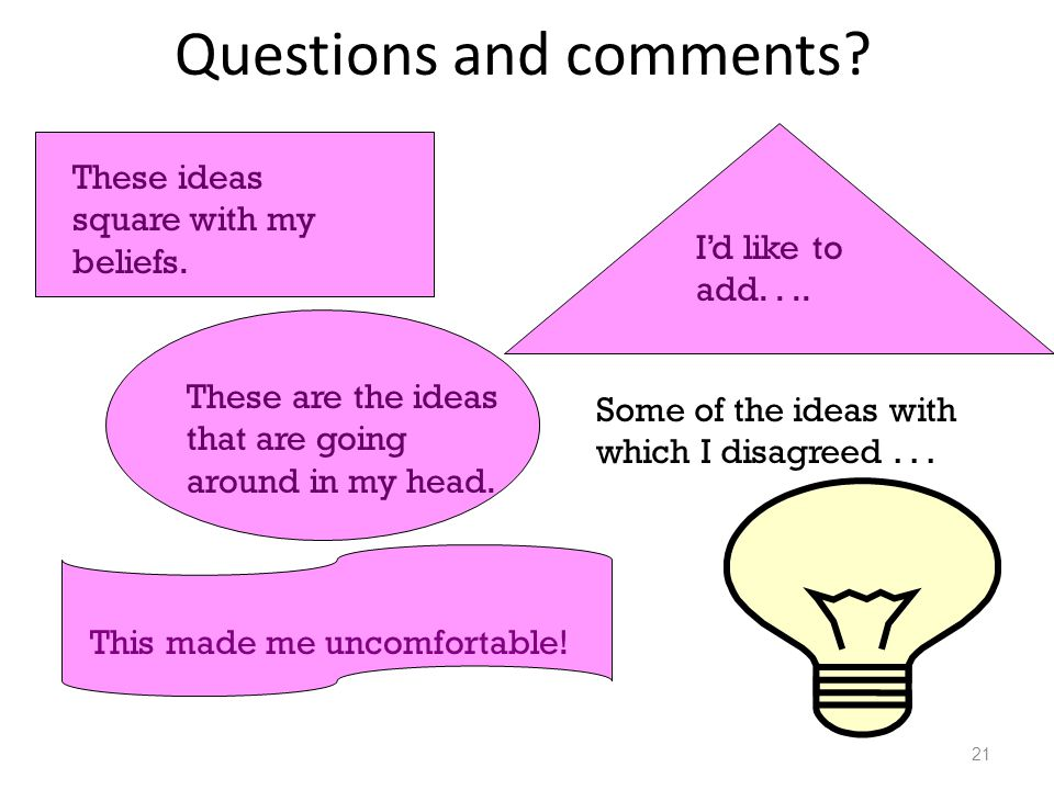 Questions and comments? 21 These ideas square with my beliefs. I'd like to add.... These are the ideas that are going around in my head. This made me