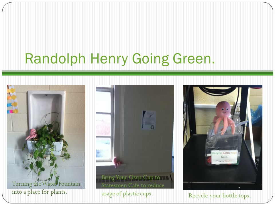 Randolph Henry Going Green.Turning the Water Fountain into a place for plants.