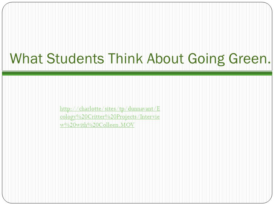 What Students Think About Going Green.