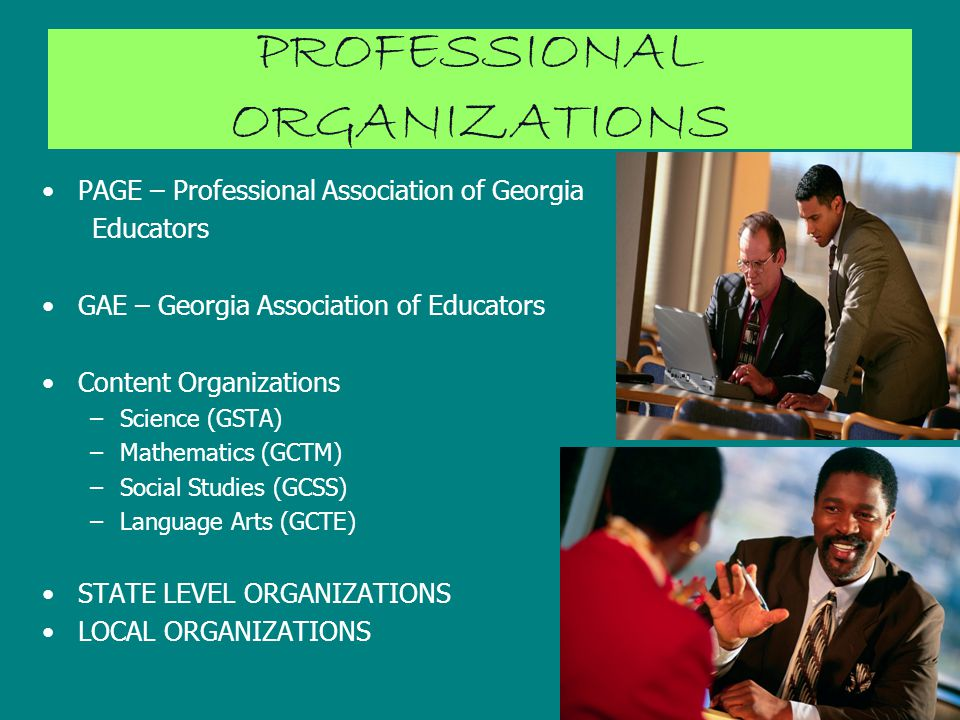 PROFESSIONAL ORGANIZATIONS PAGE – Professional Association of Georgia Educators GAE – Georgia Association of Educators Content Organizations –Science (GSTA) –Mathematics (GCTM) –Social Studies (GCSS) –Language Arts (GCTE) STATE LEVEL ORGANIZATIONS LOCAL ORGANIZATIONS