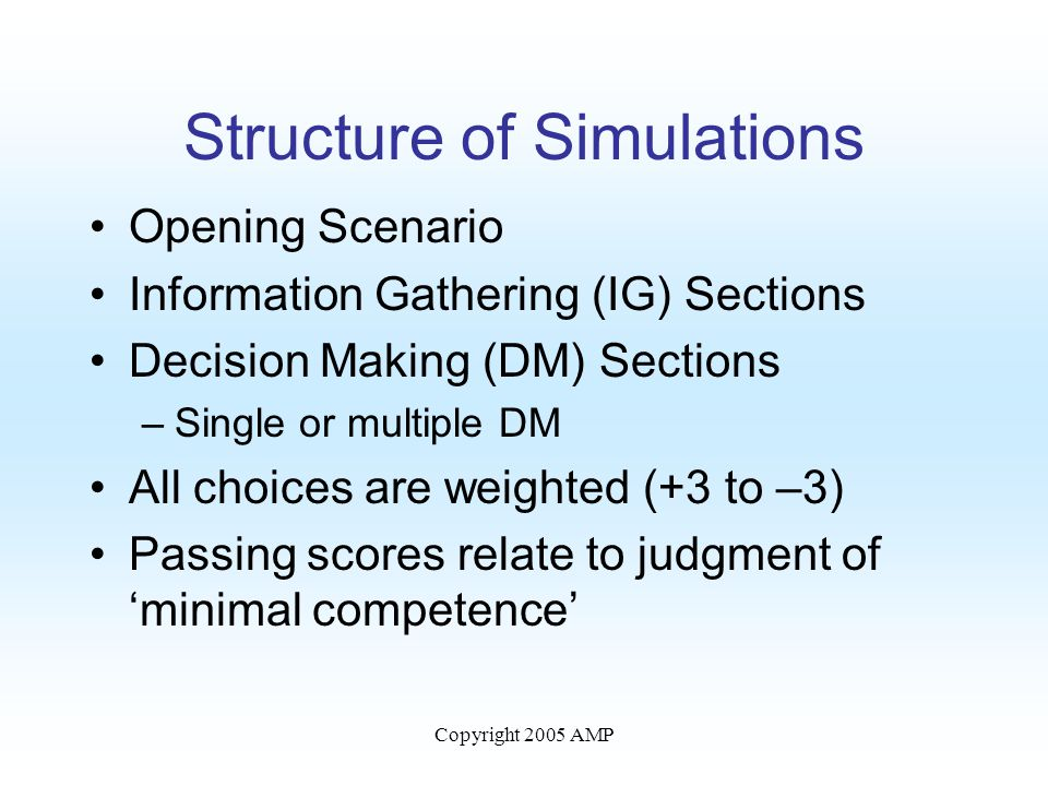 Copyright 2005 AMP Structure of Simulations Opening Scenario Information Gathering (IG) Sections Decision Making (DM) Sections –Single or multiple DM All choices are weighted (+3 to –3) Passing scores relate to judgment of 'minimal competence'