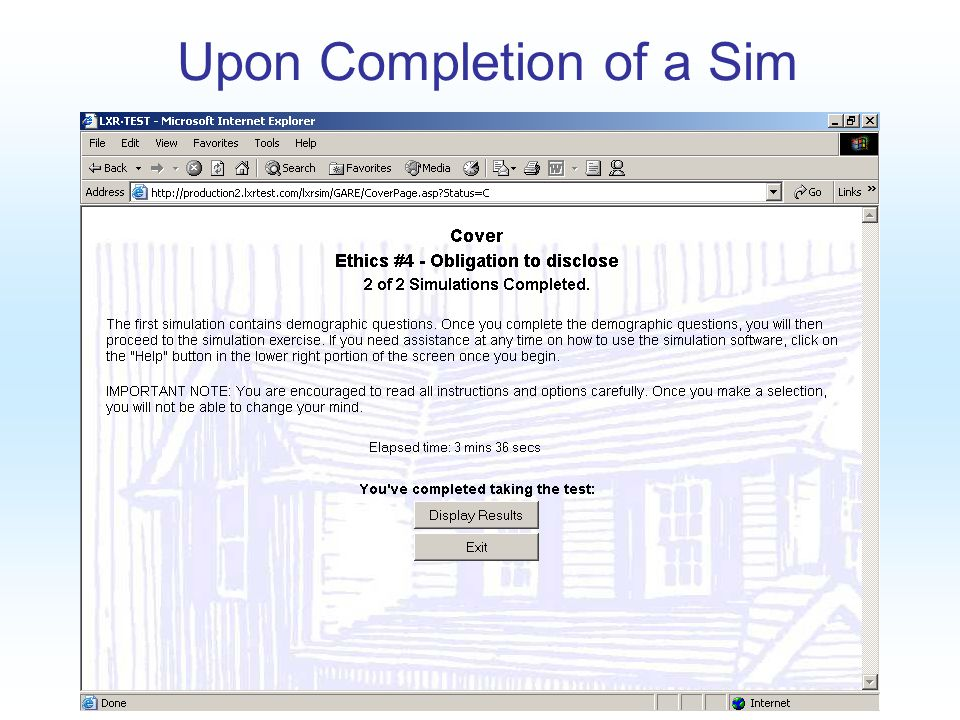 Upon Completion of a Sim